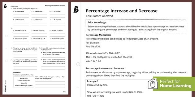 Percentages revision worksheet pack - percentage increase and decrease