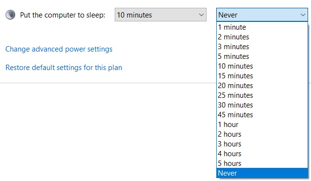 Put the computer to sleep drop-down menu in the Control Panel