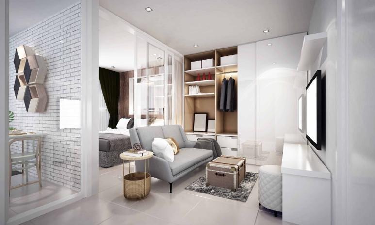 玻璃間隔的家居設計能把300呎的實用面積變得更廣闊