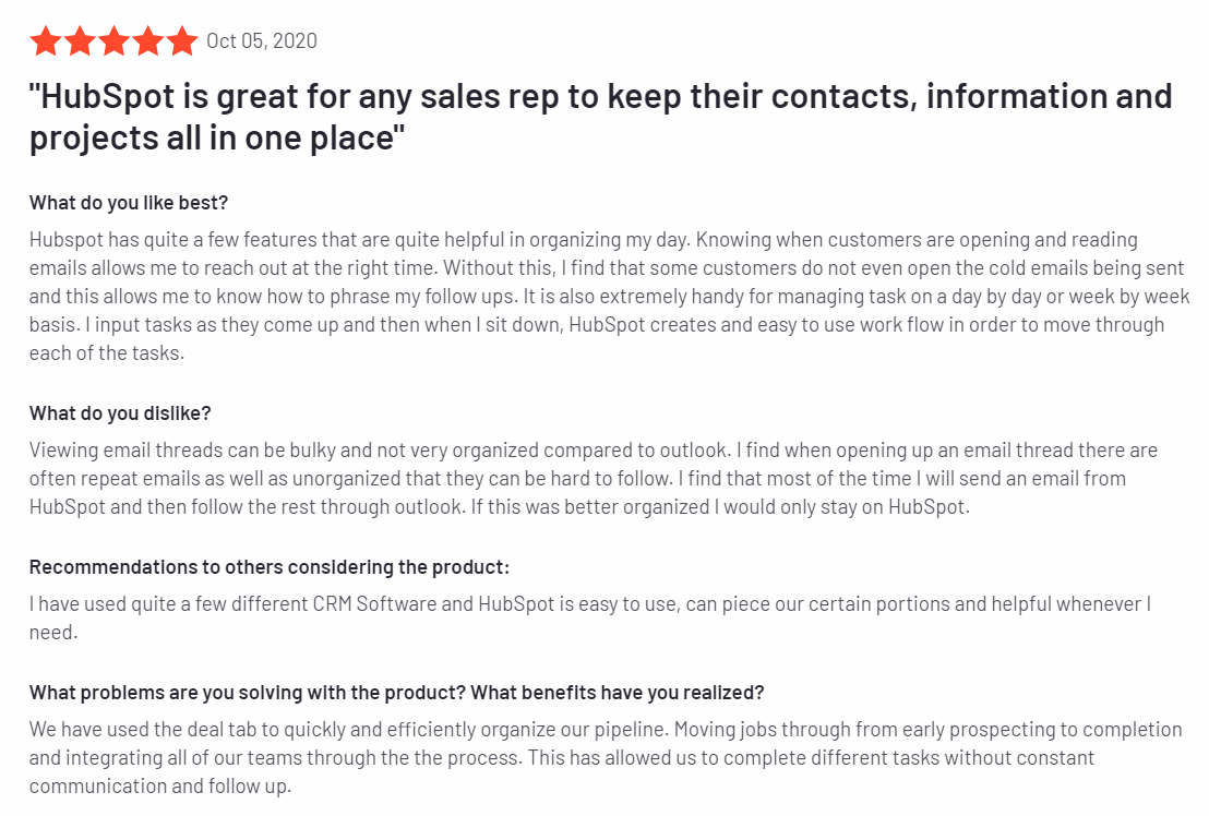 HubSpot Sales - Best Sales Prospecting Tools 2020