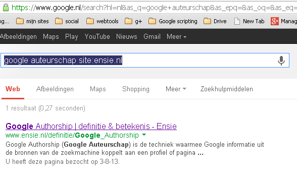 Voorbeeld van zoekresultaat voor ensie.nl auteur Daniel Mulder