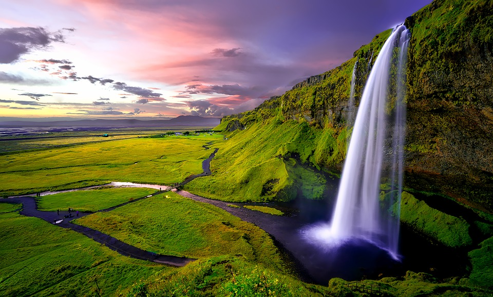 Iceland, Waterfall, Falls, Mountains, Sunset, Dusk, Sky