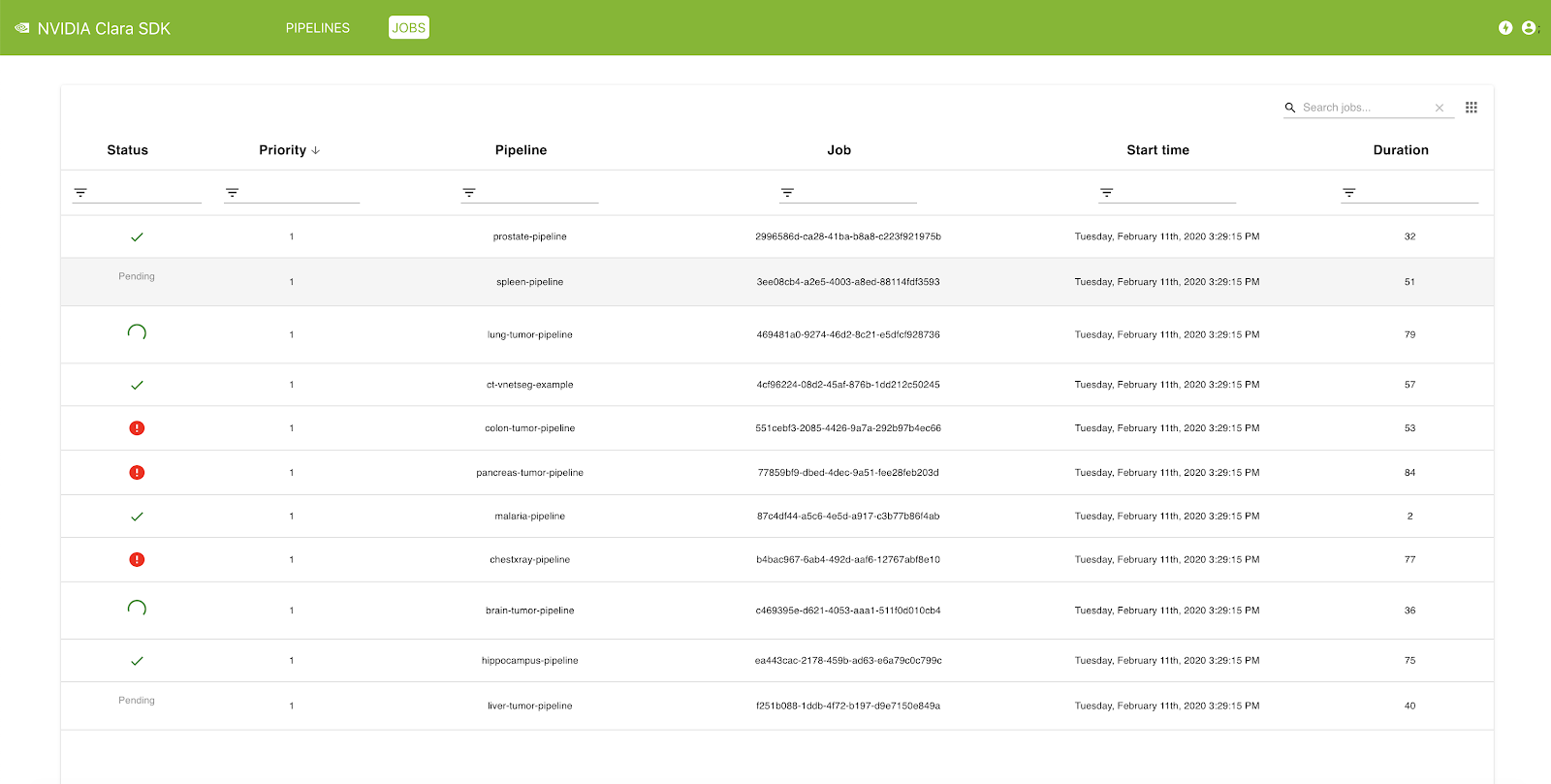 A screenshot of the Clara Deploy management console, showing details of jobs in the queue, jobs currently processing, and jobs completed.