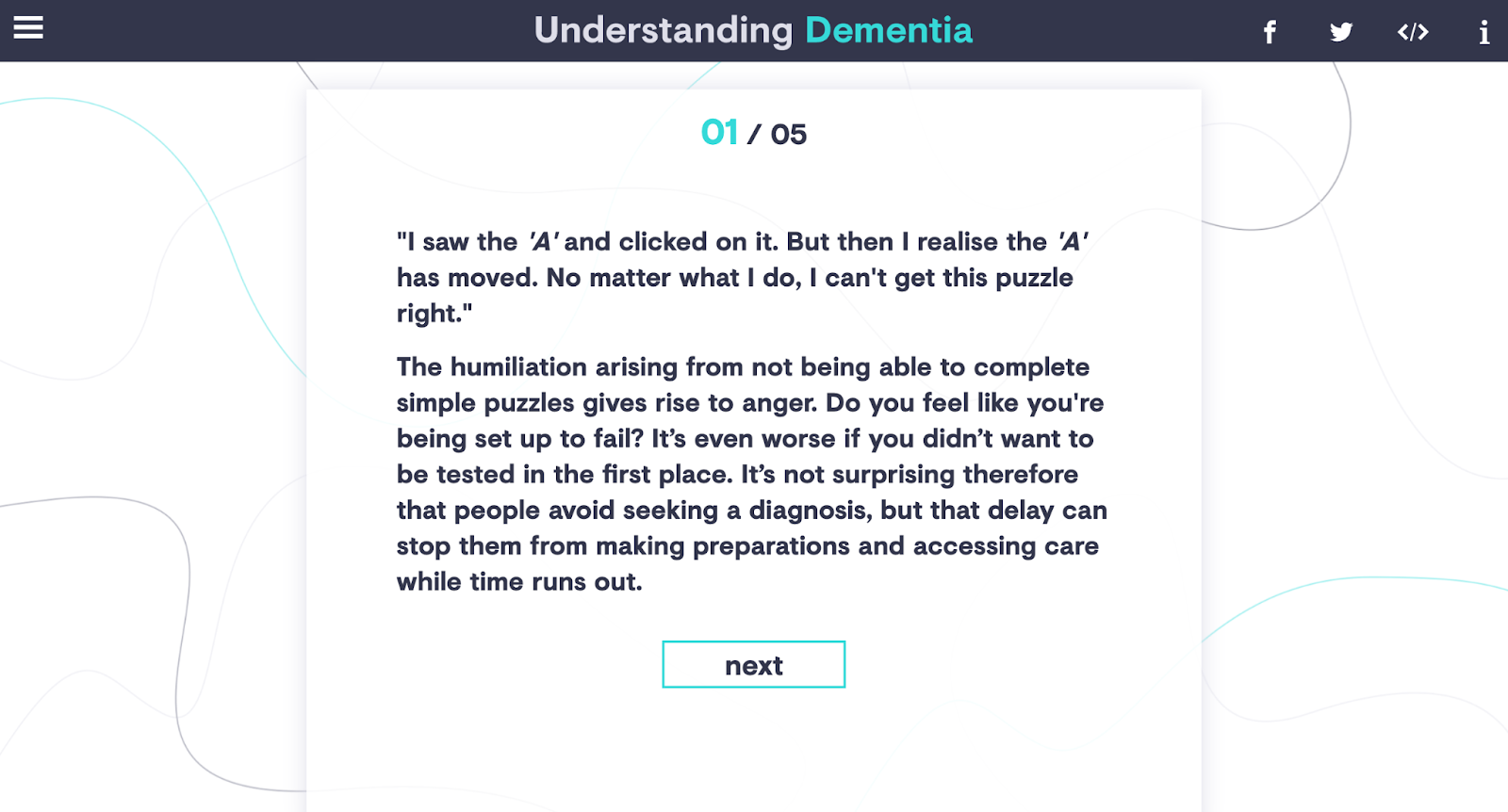 A screenshot of our puzzle game 'Understanding Dementia' for Babylon Health. The screen shows how we incorporated the expert's comments into the campaign results page.