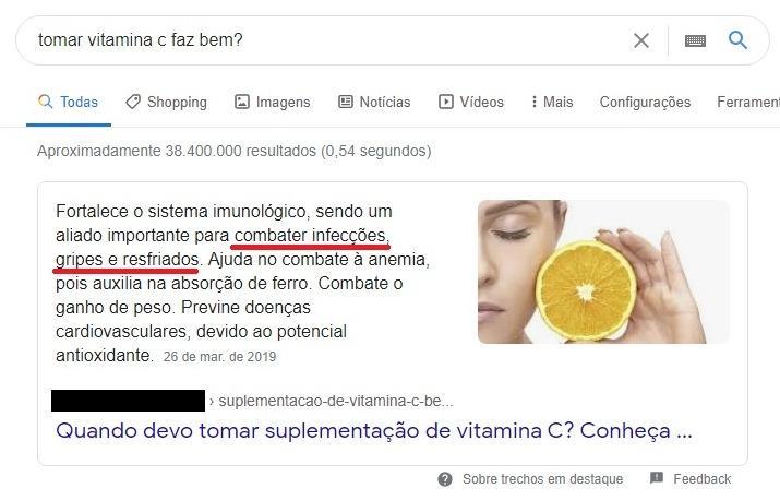 """SERP para """"tomar vitamina c faz bem?'"""