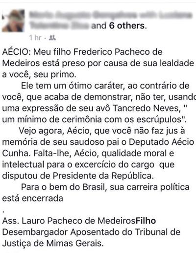Texto do pai do primo de Aécio Neves.