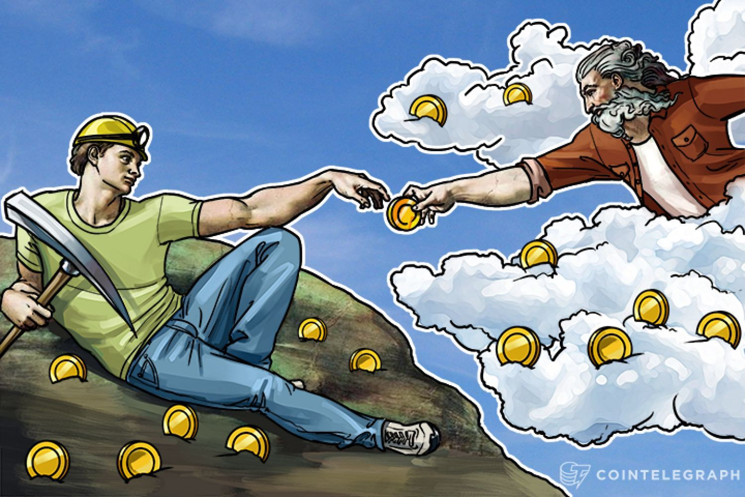 The Creation of Adam painting with Bitcoins