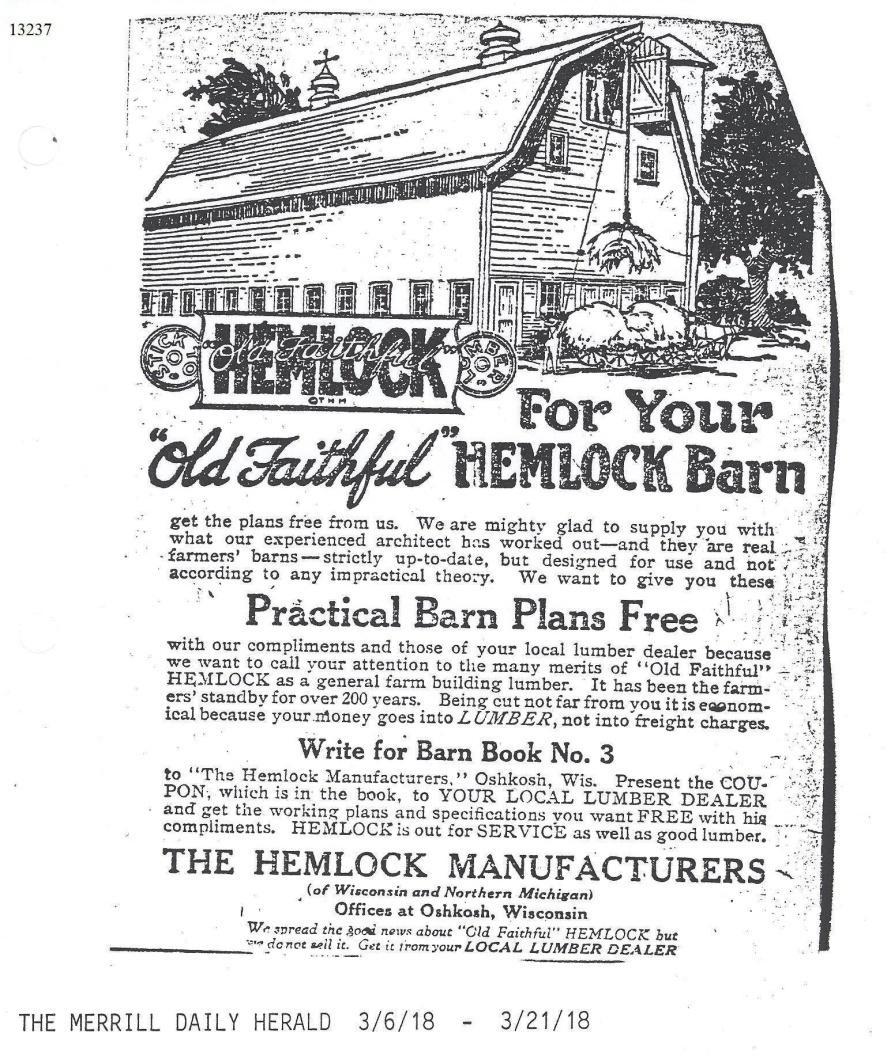 "C:\Users\Robert P. Rusch\Desktop\II. RLHSoc\Documents & Photos-Scanned\Rib Lake History 13200-13299\13237-Merrill Daily Herald 3-6-1978 ad; Old Faithful Hemlock; for your ""Old Faithful"" hemlock barn.jpg"