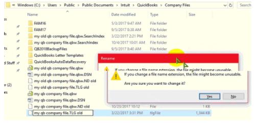Rename the My QB Company Files