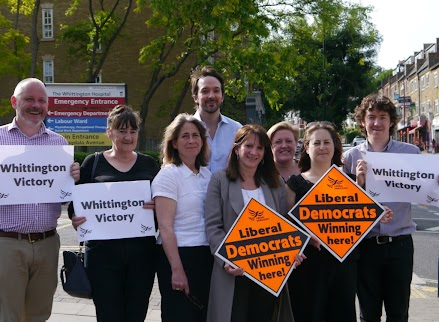Lynne Featherstone MP and the Haringey Lib Dems celebrate stopping the Whittington sell-off last year