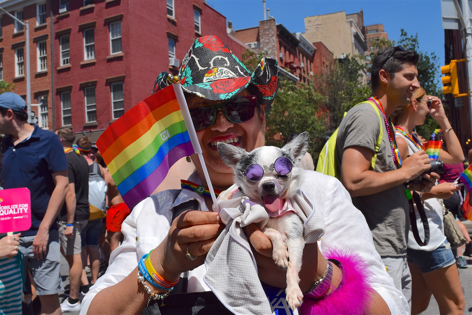 A person at a LGBTQ+ Pride event with their dog.