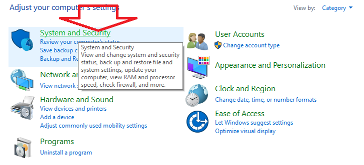 how to use system restore -system and security