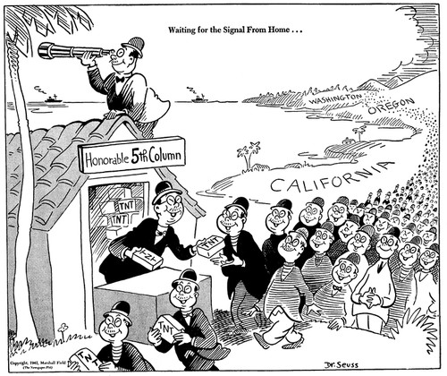 "An anti-Japanese political cartoon by Dr. Seuss. It shows Japanese Americans lined up to collect blocks of TNT from a shack labeled ""Honorable 5th Column,"" with a caption that reads, ""Waiting for the Signal From Home..."""