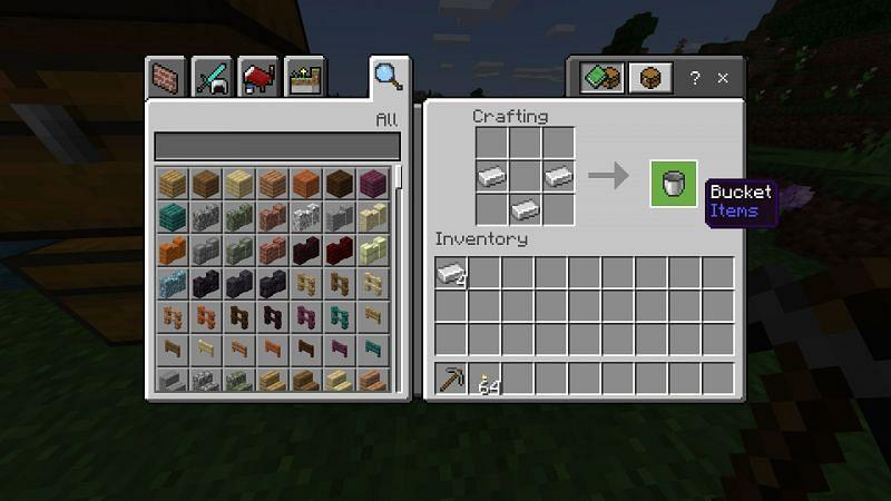 Step 3 for making Bucket in minecraft