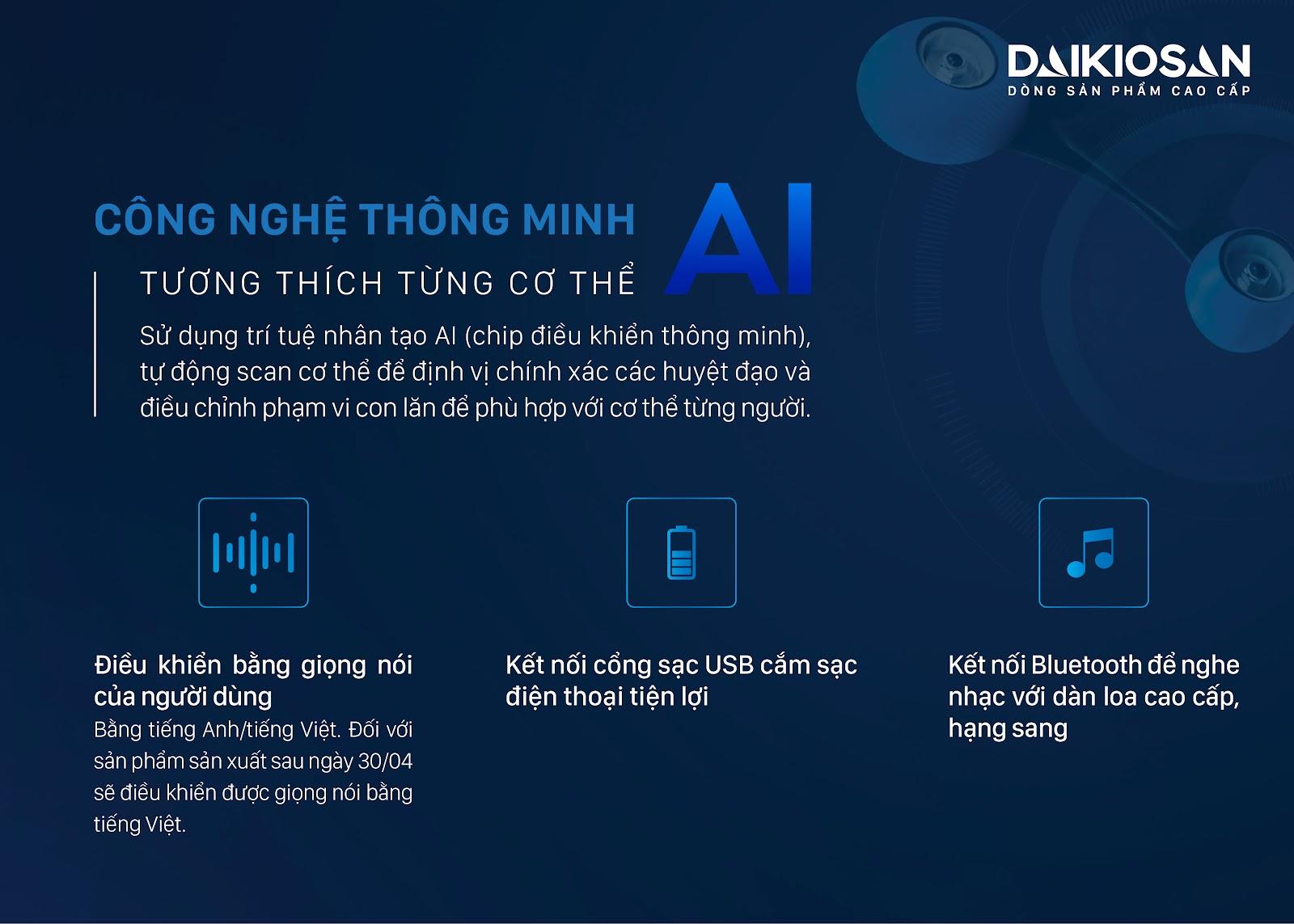 ghế massage toàn thân áp dụng công nghệ AI trí tuệ nhân tạo