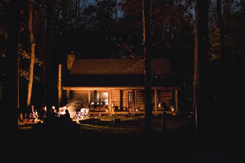 Barn, Cabin, Fire, Bonfire, People, Bonding, Vacation