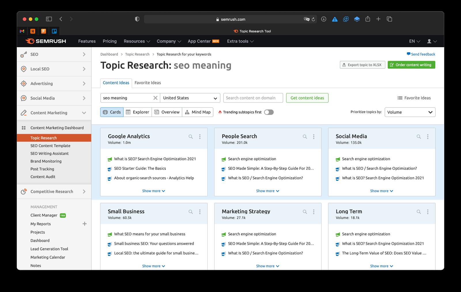 Screenshot of SEMrush view inside the Topic Research Tool.
