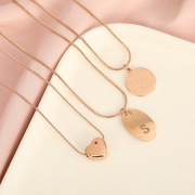 Casual Hipster Titanium Steel Necklace Ins Cool Style Female Trendy English round Brand Internet Celebrity Same Style Clavicle Chain Neck Chain Wholesale