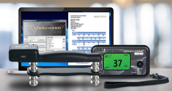 Quickly and accurately capture grip sctrength data with Commander Echo Downloader software. Easily generates hand grip strength reports.