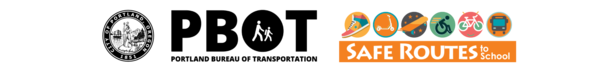 City of Portland, Portland Bureau of Transportation and Safe Routes to School logos