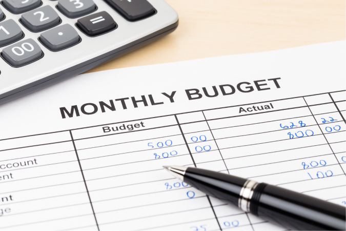 A monthly budget sheet