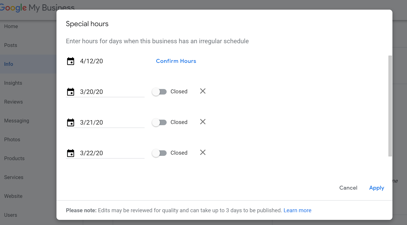setting special business hours on Google My Business