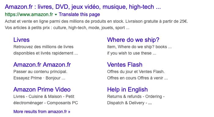 Amazon France ccTLD example