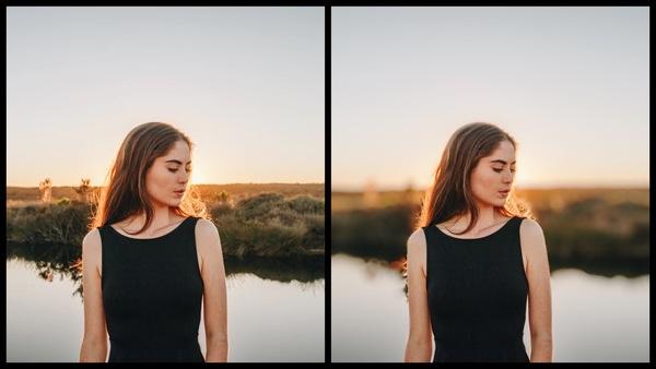Antes e depois da foto de uma mulher loira sendo que uma foto está sendo usada a ferramenta Bokeh do AirBrush