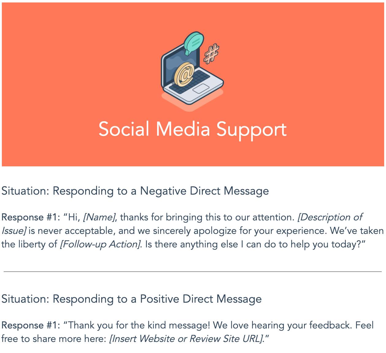 social media support template from HubSpot