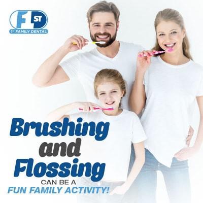 Nha khoa gia đình số 1 - Đánh răng và dùng chỉ nha khoa có thể là một hoạt động gia đình thú vị