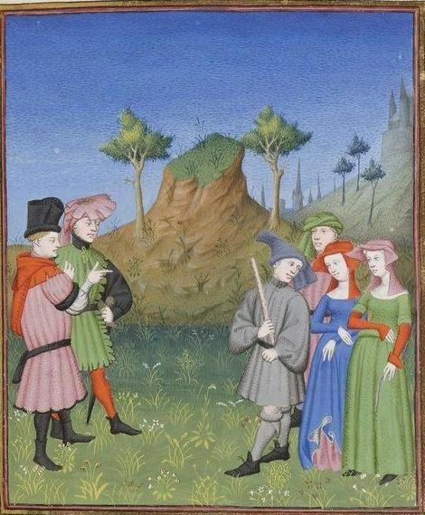 Publius Terencius Afer, Comoediae [comédies de Térence] ca. 1411;  Bibliothèque de l'Arsenal, Ms-664 réserve, 95r: