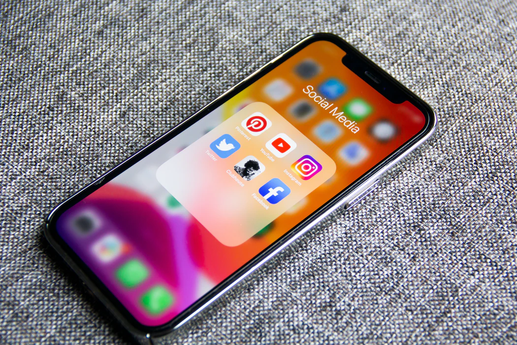 Social media icons on an iPhone