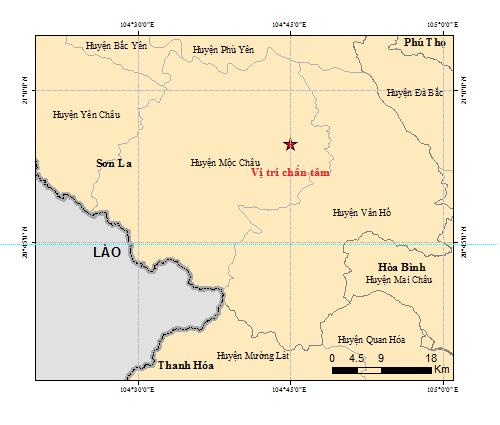 Hôm nay xảy ra thêm 6 trận động đất tại Mộc Châu, Sơn La