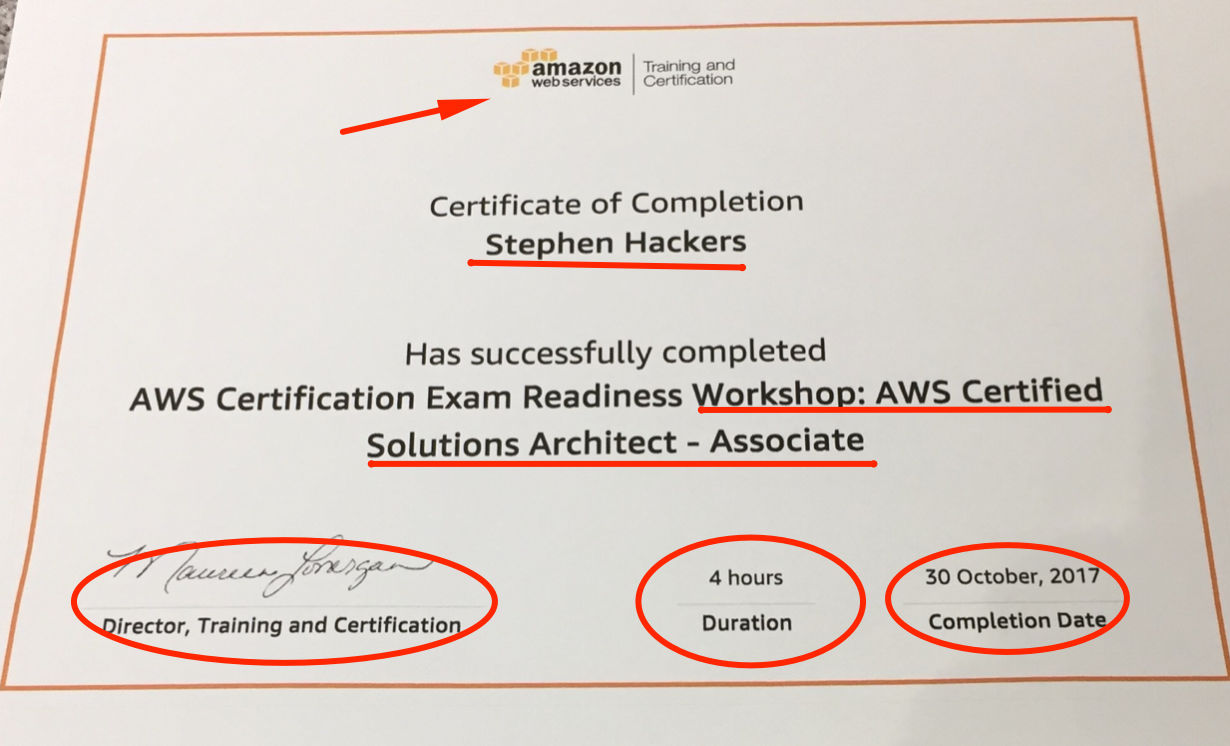 AWS Certificate template