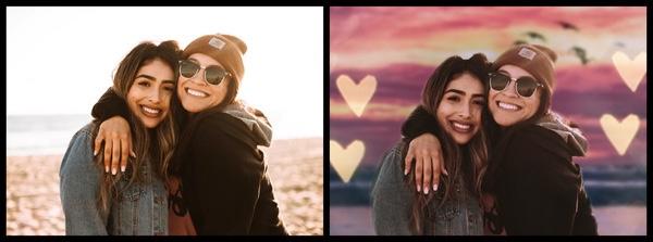 Montagem com duas mulheres se abraçando mostrando o antes e depois da edição