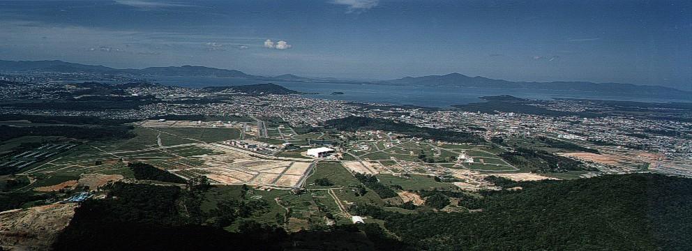 imagem aérea da Cidade Pedra Branca nos anos 2000