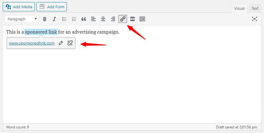 adding no follow link in wordpress
