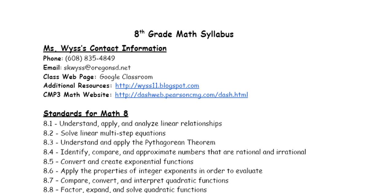 Math 8 Syllabus Google Docs