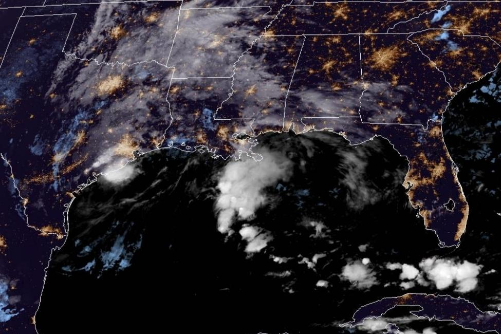 Tropical Storm Beta is seen in the Gulf of Mexico, off the coast of Texas, on Monday. Image courtesy NOAA/NHC