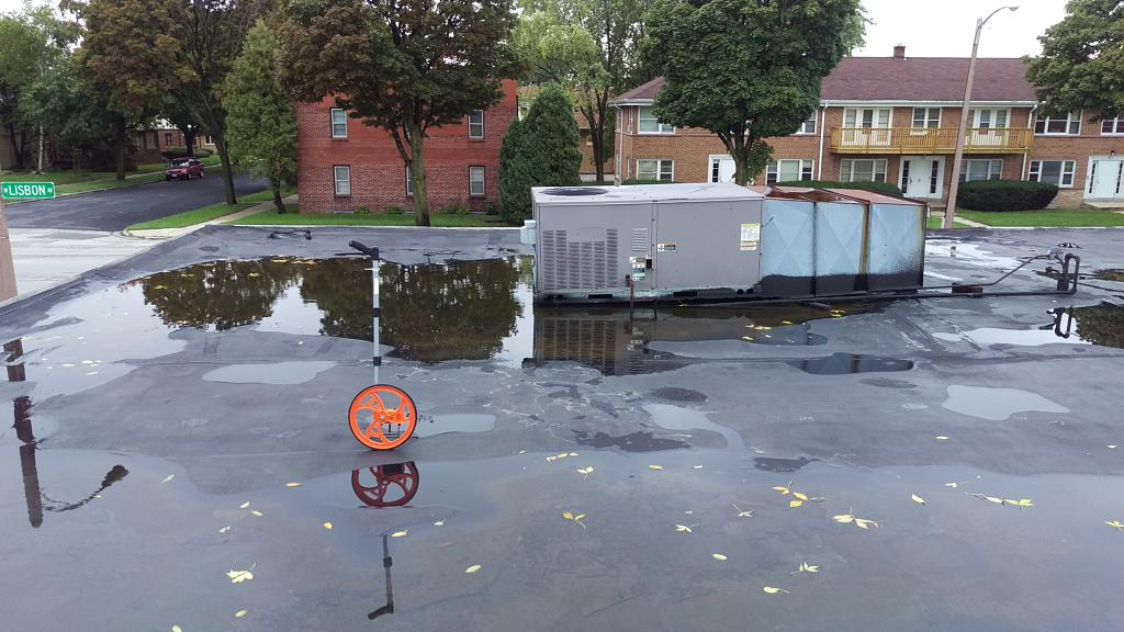 Ponding water on flat roof
