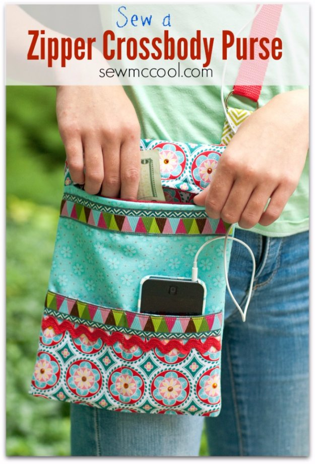 Easy Sewing Projects to Sell - Sew a Zipper Crossbody Purse - DIY Sewing Ideas for Your Craft Business. Make Money with these Simple Gift Ideas, Free Patterns #sewing #crafts