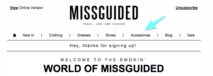 Missguided welcome email
