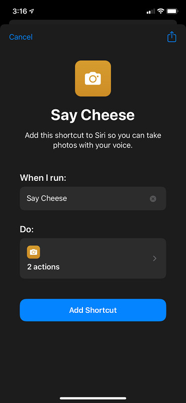 """Say Cheese"" Shortcut"