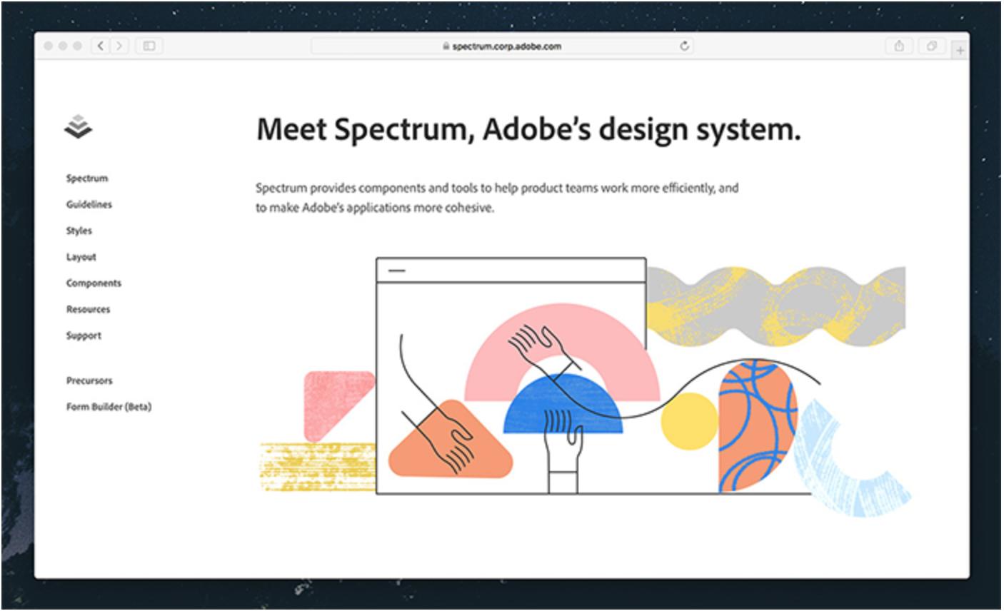 Screenshot of the Adobe Spectrum Design System online resource hub.