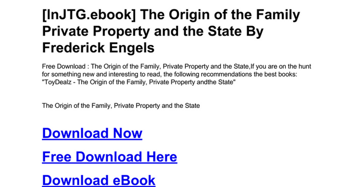 The Origin Of The Family Private Property And The Statec Google