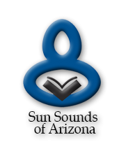 Logo of Figure Reading a Book: Return to the home page for Sun Sounds