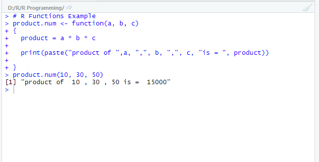 This image shows the output for the function defined.