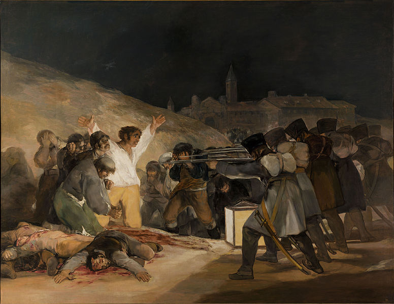 Goya's The Third of May, with French troops gunning down helpless Spanish villagers.