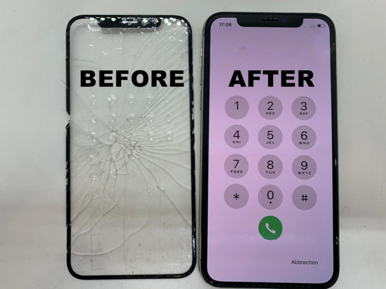 Example of a screen replacement. Note that only the outer screen is replaced.