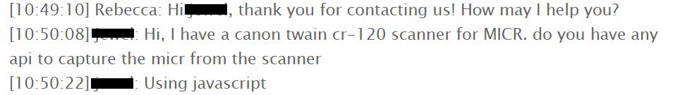 customer live chat screenshot
